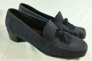 Stuart Weitzman Russell & Bromley Navy Blue Suede Loafer Shoes. US 10 (UK 8)