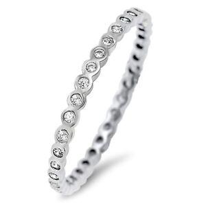 Bezel Design Genuine Sterling Silver Clear CZ Eternity Ring Size 2 - 12
