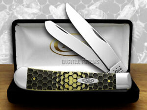 Case xx Trapper Knife Honeycomb Yellow Delrin 1/1000 Stainless Pocket Knives