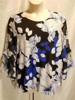 ALFANI Woman's Plus 1X Black Blue & White Floral 3/4 Sleeve Top Blouse Shirt $75