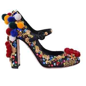 Dolce & Gabbana Runway Sicily Court Shoes With Pom Sequin Rhinestone Black 06682