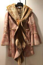 Women's Newport News Stylish Long Jacket, Size 6, Fur, Beige, Flared Sleeves