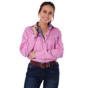 Pentecost River Pastel Pink Womens Half Button Work Shirt Ringers Western