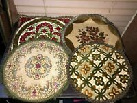 Lot of Vintage Embroidered Plant Stand Placemats Trivets from Belgium Immacu!!