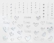 Silver Metallic Hanging Dotted Hearts 3D Nail Art Sticker Decal UV Gel Polish