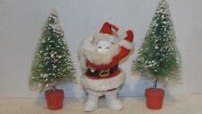 VINTAGE PAPER MACHE FELT SANTA & (2) CHRISTMAS TREES