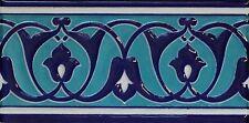 "4""x8"" Turkish Raised Iznik Blue & Turquoise Pattern Ceramic Tile Border"