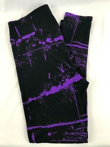 LuLaRoe TC Leggings Tall & Curvy Black Purple Paint NEW Fits 12-18