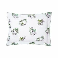 YVES DELORME MOUSSON KING PILLOW SHAM FRENCH FLORAL WHITE PURPLE GREEN