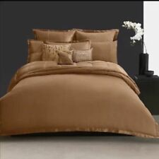 nip donna karan modern classic cognac ottoman striped queen duvet cover set 7pc
