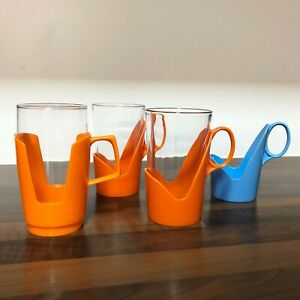 Tall Orange Pyrex Mugs | Arcoroc | 3 x 1970s Picnic Cups 4 Holders | Camper Van