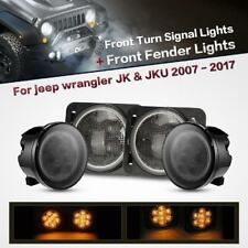 LED Turn Signal&Parking Side Marker Light Fender Smoke Lens For Jeep Wrangler