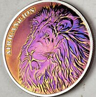 2018 REPUPLIC OF CHAD AFRICAN LION 1OZ Silver 5000 FRANCS TONED ART COINS  #A