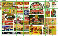 NH059 DAVE'S DECALS 1/2 Set N SCALE VINTAGE SHOE ADS COLA DRUGS PAINT RADIO