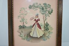 Vintage Victorian Fine Lady Lithograph Print w Frame & Glass S.Colef-Style Art