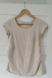 H&M Mama Beige Maternity T-Shirt Stretchy Fabric Size Medium 10/12