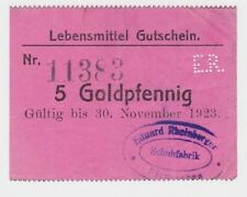 5 Goldpfennig Banknote Notgeld Schuhfabrik Pirmasens 30.11.1923 (119295)