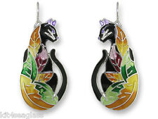 Zarah Zarlite TIME TO LEAVE CAT Earrings Sterling Silver Plated Enamel - Boxed