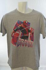 Men's MARVEL Vintage Style Spiderman Bravery Logo Gray T-Shirt M