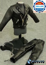 """1/6 T-800 Arnold Leather Motorcycle Jacket Set For 12"""" Hot Toys Figure ❶USA❶"""