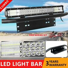 "23 inch 3row LED Light Bar + 23"" Number Plate Frame Mount Bracket 4X4WD SUV ATV"