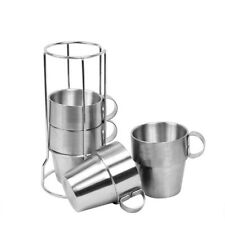 4Pcs/Set Double Wall Stainless Steel Drinking Coffee Beer Cups Mug Camping Tools