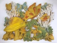 "Vintage Retro 3D Wall Art Homco Plaque Frogs Mushrooms Butterflies 17"" x 14"""