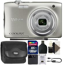 Nikon Coolpix A100 20.1MP Compact Digital Camera Silver with Accessories