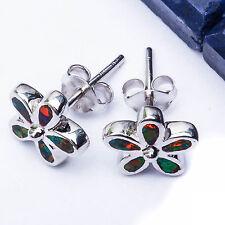 """Green Australian Opal Flower .925 Sterling Silver Earrings .5"""""""