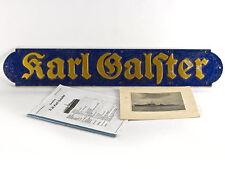 WWII Kriegsmarine German Destroyer Karl Galster Name Plate