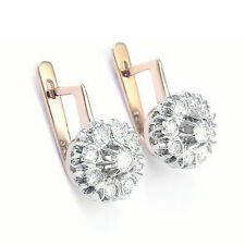 14k Solid Rose & White Gold Genuine Diamond Russian Style Earrings US $1,879.00