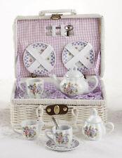 Child's 15 PC Porcelain Purple Bouquet Tea Set in Basket!  Great Gift!