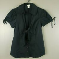 Odille Anthropologie Black Button Down Shirt Top Tie Neck Size 6 Puff Sleeve