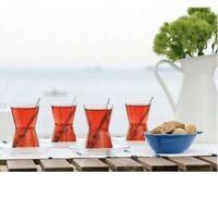 Turkish Tea Glass & Glass Serving Saucer 12 Pc Set LAV Derin High Quality Luxury
