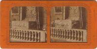 Château Da Versailles Francia Stereo Diorama Tessuto Vintage Ca 1870