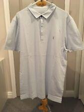 Mens All Saints Brace Short Sleeved Polo Shirt. Sol Blue. Medium