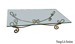 Vintage Spanish Style Solid Wrought Iron Gold Coffee Table Hollywood Regency