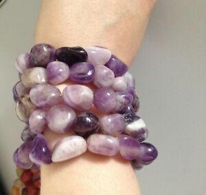 Natural Semi-precious stone Beads Stretch Bracelet Amethyst
