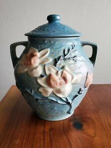 """Vintage 1930 Roseville 2-8"""" Magnolia Cookie Jar In Blue Green"""