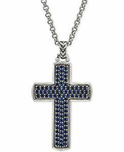 Pavé Set Round Shape Blue Sapphires Sparkle Men's Cross 925 Silver Pendant Chain