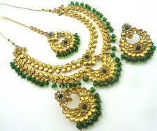 GREEN LCT CZ KUNDAN GOLD TONE NECKLACE SET BOLLYWOOD BRIDAL PARTY WEAR JEWELRY