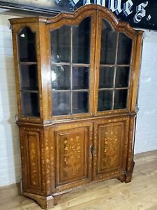 Antique Dutch Marquetry Breakfront Bookcase Dresser .Delivery Availabl Most Area