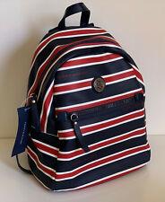 NEW! TOMMY HILFIGER NAVY BLUE RED WHITE STRIPE MINI TRAVEL BACKPACK BAG $89 SALE