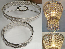 CHANDELIER LIGHT PENDANT 2-TIER FRAME ONLY ANTIQUE CHROME NO CRYSTALS DROPLETS