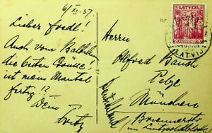 LATVIA 1937 MAY SQUARERIGA PRE WWII PPC W/ 20s TO MUNICH GERMANY