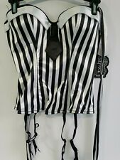 Beetlejuice Bustier -Corset Black & White  Size M-Costume- Cosplay New