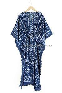 Anokhi Handmade Indian Block Print Cotton Kaftan Long Maxi Dress Indigo Caftan