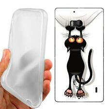 CUSTODIA COVER CASE TPU GATTO GRAFFIO black cat  PER NOKIA LUMIA N930