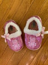 Little Girls size 8-10 Pink Peppa Pig house slippers w/faux fur