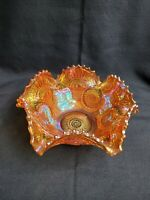 Vintage Imperial Marigold Carnival Glass Ruffled Edge Candy Dish Bowl Great!